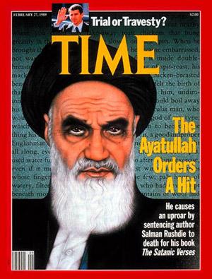 """Okładka tygodnika """"Time"""" z 27 lutego 1989 roku z wizerunkiem Chomejniego."""