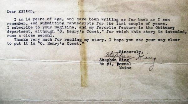 list 14-letniego Stephena Kinga