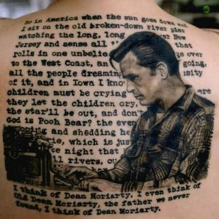 "Jack Kerouac na tle tekstu ""W drodze"""