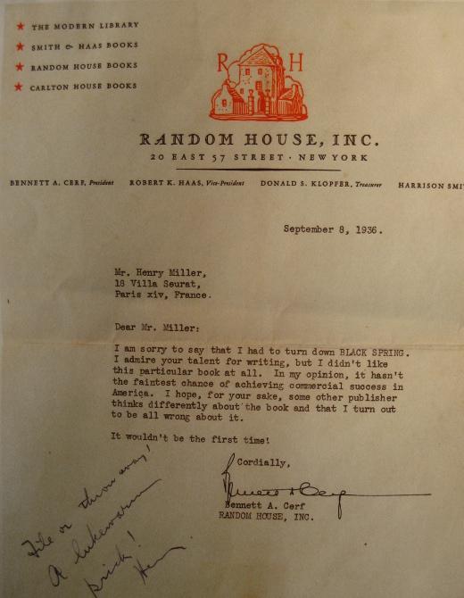 list odmowny do Henry'ego Millera