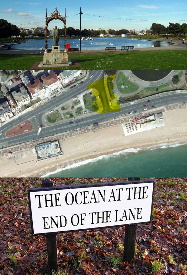 Fikcja, która przedostała się do rzeczywistości. Niewielka uliczka w Portsmouth (Anglia) po zachodniej stronie jeziora Canoe na cześć powieści została nazwana Oceanem Na Końcu Drogi.