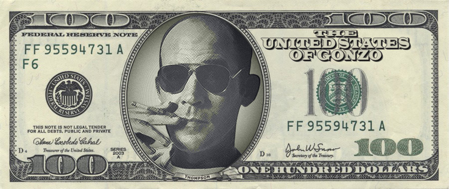 banknot z Hunterem S. Thompsonem