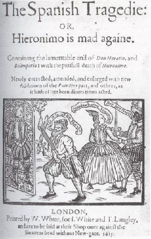 """Tytułowa strona z """"Tragedii hiszpańskiej"""" - wydanie z 1615 roku"""