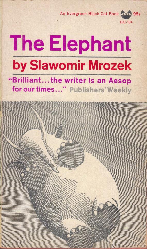 """Sławomir Mrożek """"Słoń"""" (angielskie wydanie), Grove Press, 1965"""