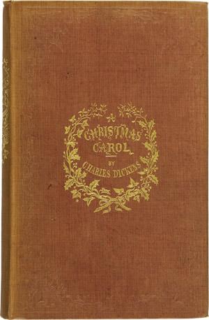 """Okładka pierwszego wydania """"Opowieści wigilijnej"""" Charlesa Dickensa z 1843 roku."""