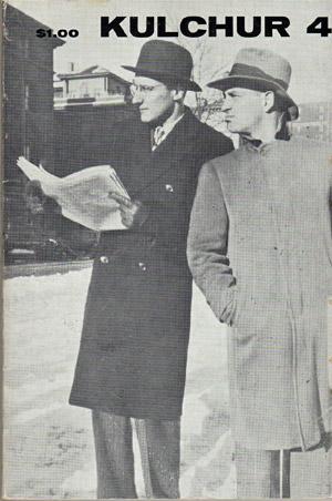 """William S. Burroughs i Jack Kerouac jako autorzy powieści detektywistycznych na okładce magazynu """"Kulchur""""."""