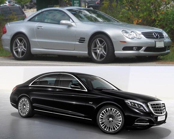 Od góry: Mercedes SL500 i Mercedes S600.