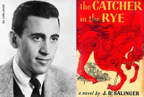 """J.D. Salinger i okładka pierwszego wydania """"Buszującego w zbożu""""."""