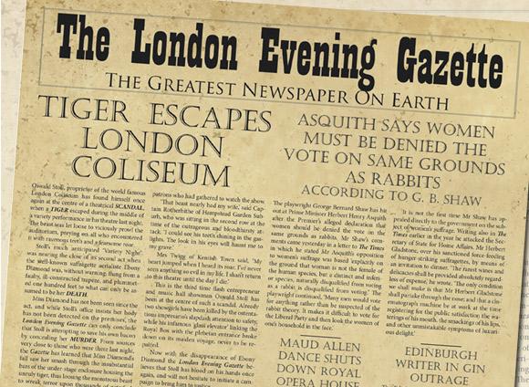 """Tak mogłaby wyglądać """"The London Evening Gazette"""", gdyby ukazywała się w rzeczywistości."""