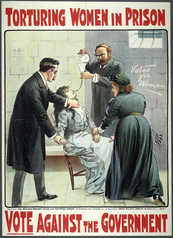 Plakat z epoki pokazujący, jak w więzieniach karmiono sufrażystki siłą.