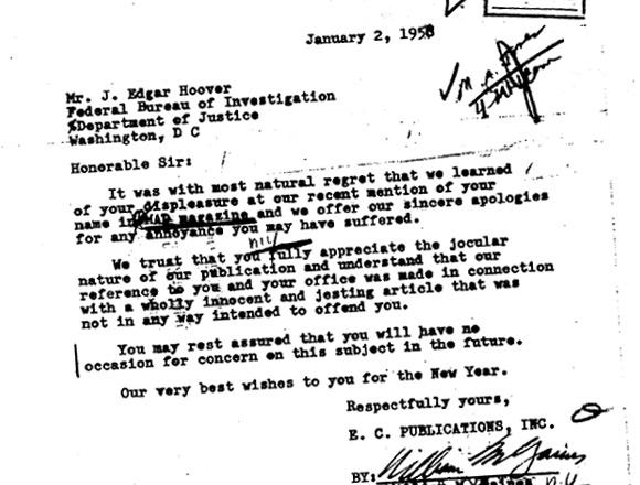 List Williama Gainesa do J. Edgara Hoovera z FBI.