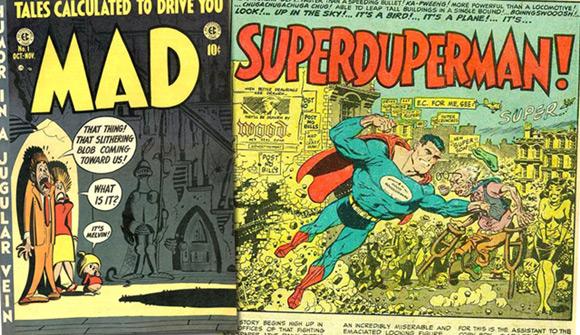 """Okładka pierwszego numeru """"Mad"""" i kadr przedstawiający """"Superdupermana"""" (z """"Mad #4"""")."""