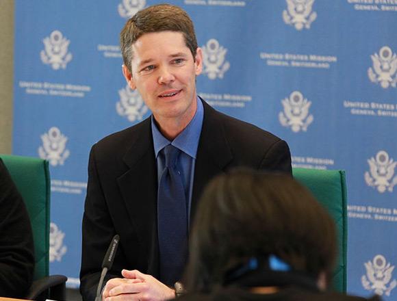 Michael Punke podczas pełnienia swoich obowiązków ambasadora USA przy Światowej Organizacji Handlu.