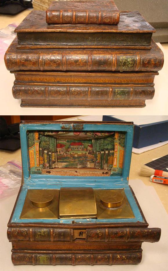 18-wieczny pojemnik na herbatę z ukrytym zameczkiem.