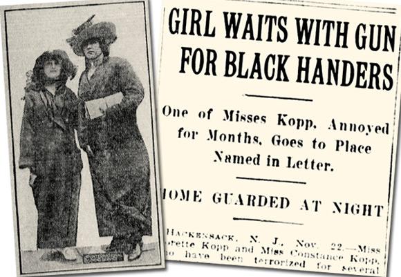 Zdjęcie Constance i Fleurette, dwóch spośród trzech sióstr Kopp, oraz nagłówek gazety informujący o całym zajściu.