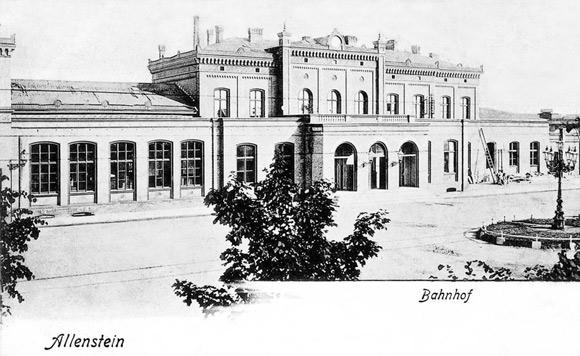 Budynek Dworca Głównego w Olsztynie, początek XX wieku.