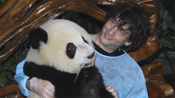 Neil Gaiman trzyma na kolanach małą pandę podczas wizyty w Pekinie w 2009 roku.