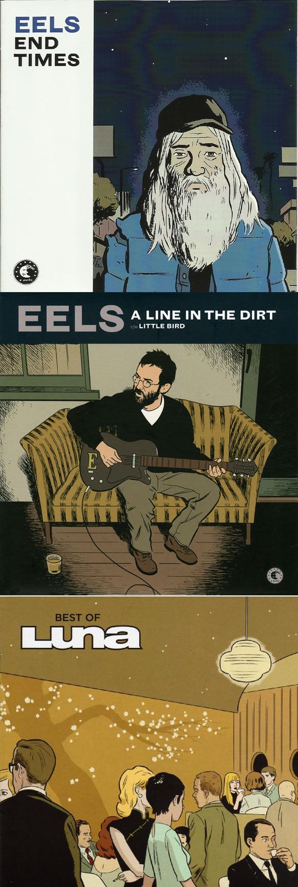 "Okładki Adriane'a Tomine'a do płyt Eels ""End Times"" i ""A line in the dirt / Little bird"" oraz Luna ""The best of...""."