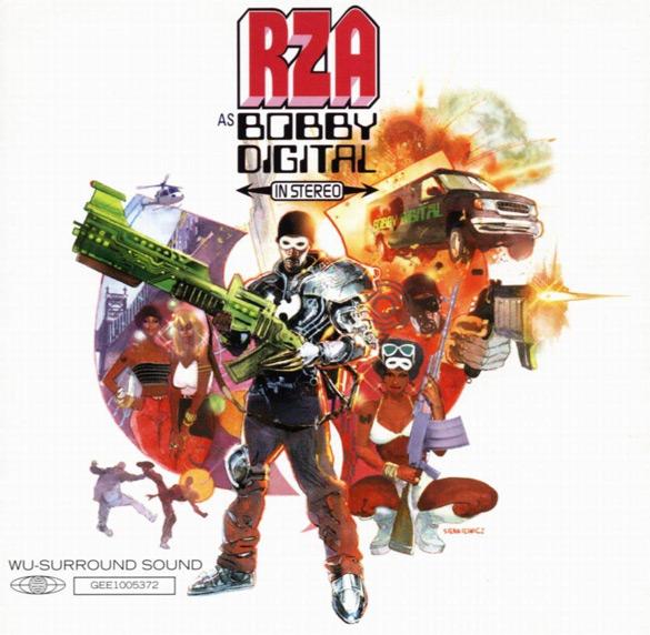 """Okładka Billa Sienkiewicza do płyty RZA """"RZA as Bobby Digital in Stereo""""."""