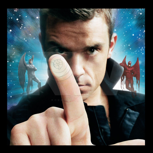 """Okładka Granta Morrisona i Franka Quitely'ego do płyty Robbiego Williamsa """"Intensive Care""""."""