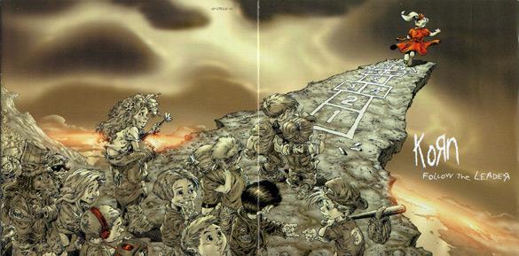 """Okładka Grega Capullo i Todda McFarlane'a do płyty zespołu Korn zatytułowanej """"Follow the leader""""."""