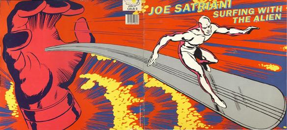 """Okładka Jacka Kirby'ego do płyt Joego Satrianiego """"Surfing with the alien""""."""