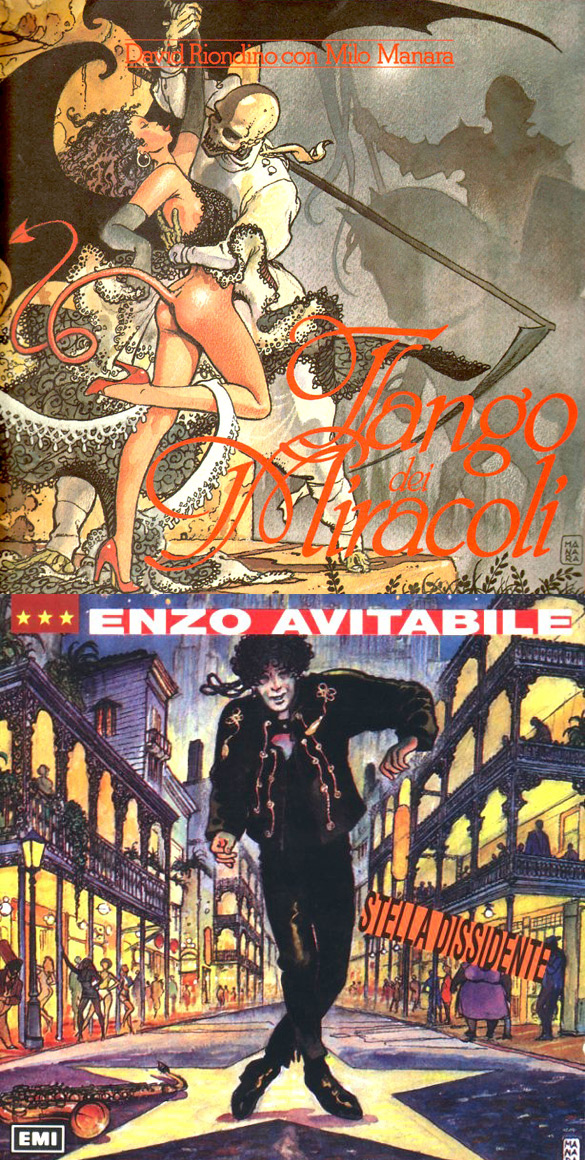 "Okładki Milo Manary do płyt Davida Riondino ""Tango dei miracoli"" i Enzo Avitabile'a ""Stella dissidente""."