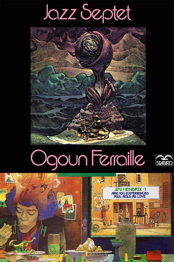 """Okładki Moebiusa do płyt Ogoun Ferraille """"Jazz Septet"""" i Jimiego Hendrixa """"Experience Hendrix - The Best of...""""."""