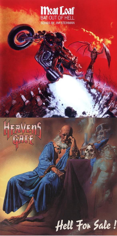 """Okładki Richarda Corbena do płyt Meat Loafa """"Bat Out Of Hell"""" i Heavensgate """"Hell for sale""""."""