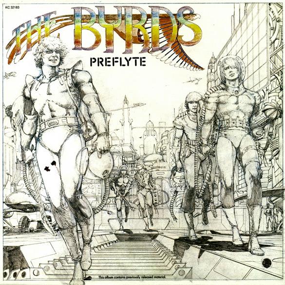 """Okładka Barry'ego Windsora-Smitha do płyty The Byrds """"Preflyte""""."""
