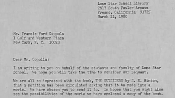 Fragment listu Jo Ellen Misakian do Francisa Forda Coppoli.