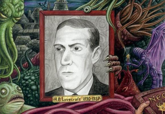 H.P. Lovecraft otoczony tworami swojej wyobraźni (rys. Dominique Signoret).