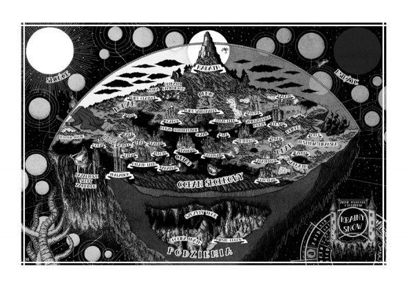 """Kraina Snów - jedna z ilustracji autorstwa Krzysztofa Wrońskiego pochodzących z książki """"Przyszła na Sarnath zagłada""""."""