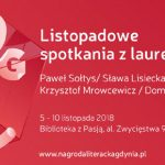 Listopadowe spotkania z laureatami Nagrody Literackiej Gdynia 2018