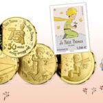 """Seria monet i znaczek pocztowy z okazji 75. rocznicy wydania we Francji """"Małego Księcia"""""""